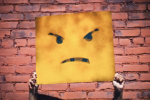 big mental blocks unhappy face, frustrated